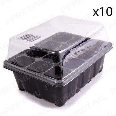 10x Propagator Seedling Growing Box With 12 Cells Flower Plant Pot Gardening Sow