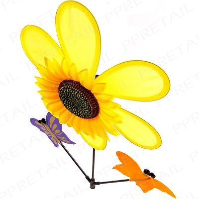 SUNFLOWER & BUTTERFLY WINDMILL Wind Mobile Spinner 90cm Tall Garden Accessory