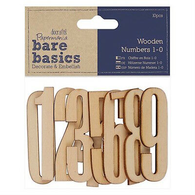 10 Natural Wooden 0-9 Numbers Card Making Scrapbooking Craft Embellishments
