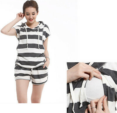 New Fashion Striped Hooded Maternity Nursing Clothes Pregnant Woman Tops Blouse