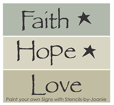 Pc Word Stencil Faith Hope Love Stars Family Home Country Craft Sign U Paint