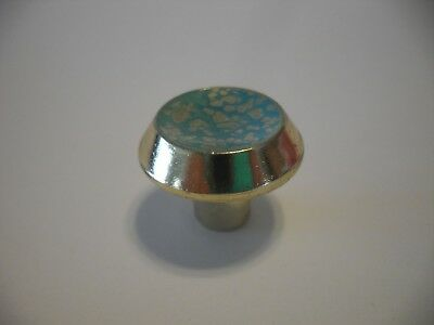 Vtg NOS Brass Plated Drawer Knobs w Turquoise Accent Cabinet DOOR Pulls Handles