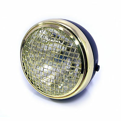 "Headlight for Yamaha Cafe Racer Scrambler 7.7"" Black Brass Mesh Grill H4 55W"