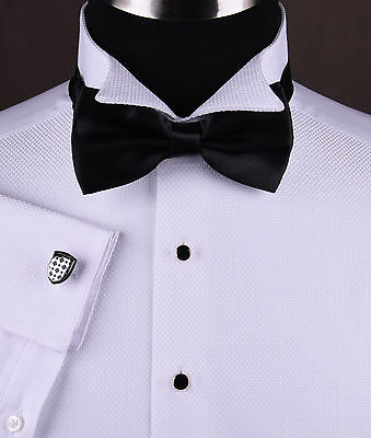 Mens Wing Collar Tuxedo Formal Dinner Dress Shirt Luxury Wedding Black Bow Tie