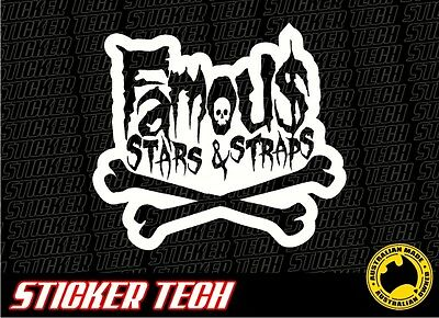 Famous Stars And Straps Skull And Bones Sticker Decal Sign Suits 4Wd Car Ute 4X4