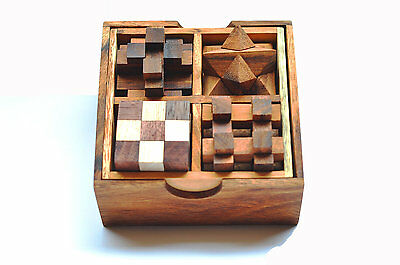 4 Puzzle Set, Brain teaser Game,Classic games,Toys , Wooden box,Siam Collection