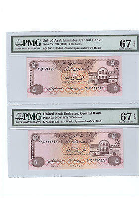 UAE UNITED ARAB EMIRATES 2 X 5 DIRHAMS P7a UNC CONSECUTIVE BANKNOTE PMG 67 EPQ