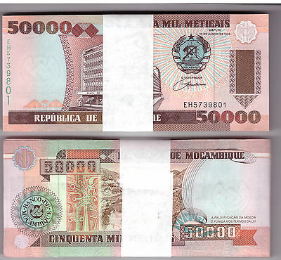 MOZAMBIQUE BUNDLE 100 x 50.000 METICAIS BANKNOTES 50000 UNC P138 (100 NOTES)