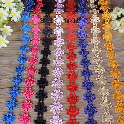1 Yd Lace Trim Embroidered Daisy Flower Applique Headband Dess DIY Sewing Craft