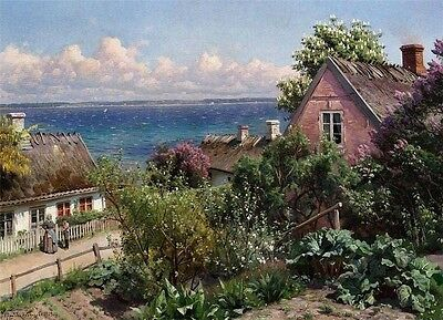 Summer Day In Aalsgarde Falso D'autore 1919 Peder Mork Monsted Dipinto A Mano