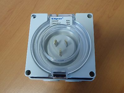 3 pin 10 Amp 10A Power Inlet - Weatherproof - IP66  for Motorhome RV 240V