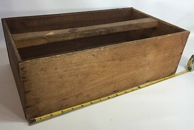 Primitive Vintage Wooden Tote Caddy Box Garden Planter Shelf Distressed  10 x 18