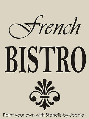 Stencil French Script Shabby Bistro Fleur Flourish Design Cafe Paris Art signs