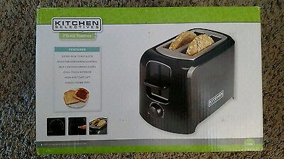 New Kitchen Selectives Black Wide Slot Cool Touch 2-Slice Toaster