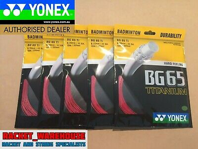 5 x PACKETS YONEX BG65Ti BADMINTON RACKET STRING RED GENUINE MADE IN JAPAN