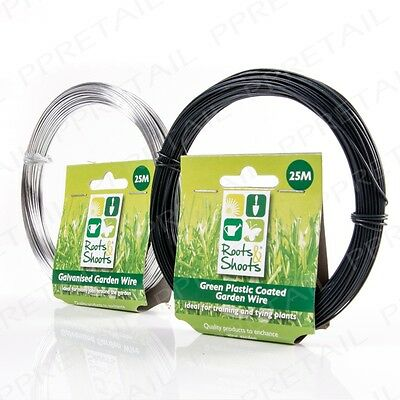 25m Long Garden Wire PLASTIC COATED/GALVANISED Roll Plant Support Fence Vine Tie