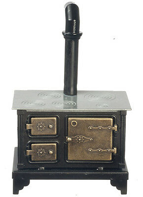 Metal Stove With Brass Effect Doors & Silver Top, Dolls House Miniature Kitchen