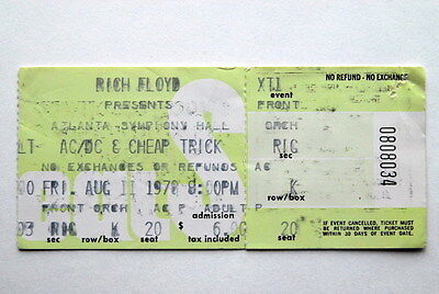 Ac/dc Cheap Trick Unused Very Rare Ticket Aug 11 1978 Powerage Us Tour Bon Scott