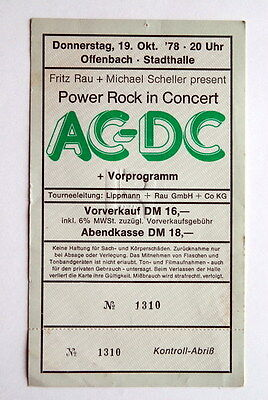 Ac/dc Offenbach Germany Unused Ticket Oct 19 1978 Powerage Tour Europe Bon Scott
