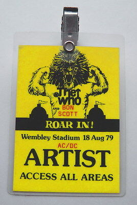 Ac/dc Original Bon Scott S Personal Backstage Pass The Who Wembley Concert 1979