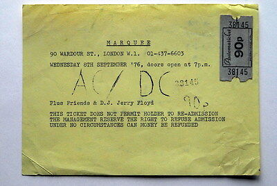 Ac/dc Original Ultra Rare Concert Ticket Bon Scott Marquee Club London 8/9/1976