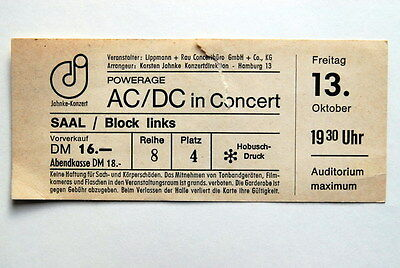 Ac/dc Ultra Rare Complete Ticket Powerage Tour Germany 13Th Oct 1978 Bon Scott