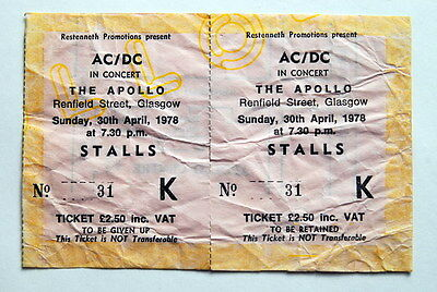 Ac/dc Unused Complete Ticket 30/4/1978 Powerage Tour Glasgow Apollo Bon Scott