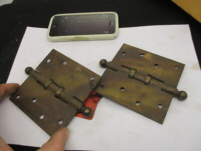 """Large Vintage Iron & Brass Hinges Architectural Antique Pair """"S.A.S"""" Old 4"""""""
