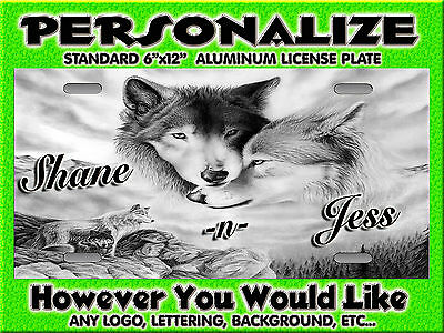Wolf Wolves Couple Love Native Background PERSONALIZED Monogrammed License Plate