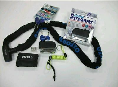 Oxford Screamer Disk Lock+Oxford Gp Chain Lock+Dlr Motorcycle Security Kit New