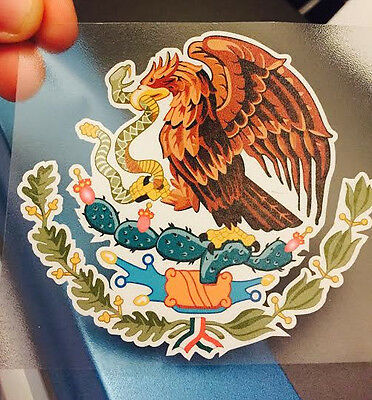 """Mexican Coat of Arms Sticker Decal Mexico Flag Car Truck Vinyl 4"""" x 3.75"""""""