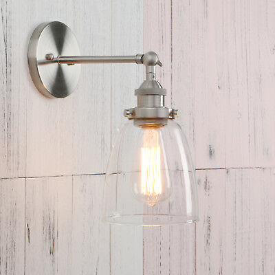 Permo Industrial Style Clear Glass Wall Lamp Antique Brass Vintage Sconce Light