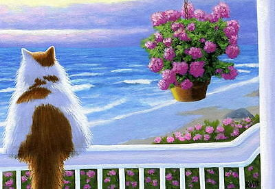 Cat porch ocean sea sunset limited edition aceo print