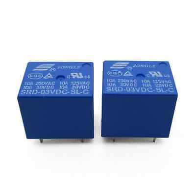 2pcs Mini 3V DC SONGLE Power Relay SRD-3VDC-SL-C PCB Type
