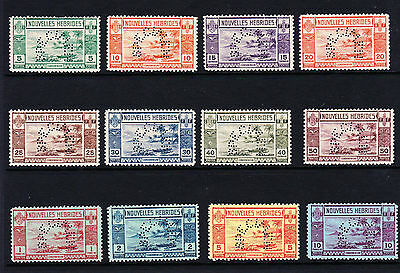 FRENCH NEW HEBRIDES 1938 SPECIMEN SET SG F53s-64s MINT.