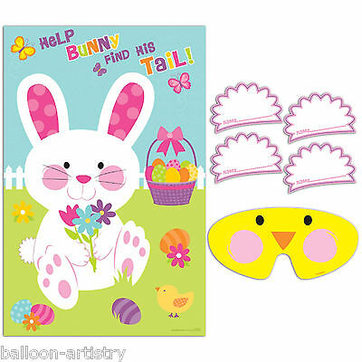10 Piece Happy Easter Help The Bunny Find His Tail Poster Party Game