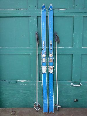 "VINTAGE  Wooden 64"" Skis Has BLUE Wood Finish Signed ALPINA"