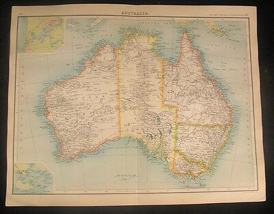 Australia 1902 Bartholomew detailed antique color map w/ telegraph lines