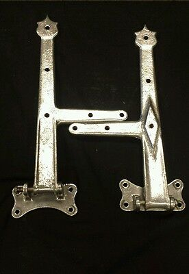 SUPER Pair of large offset  vintage heavy cast metal hinges.   door Gate barn