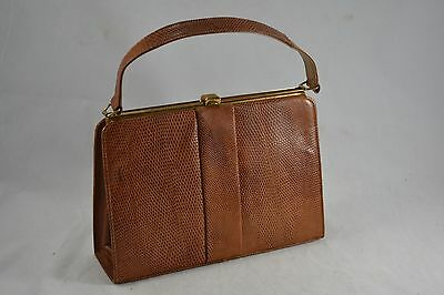 VINTAGE LINSLADE brown lizard skin leather kelly bag/handbag suede lined 1960s