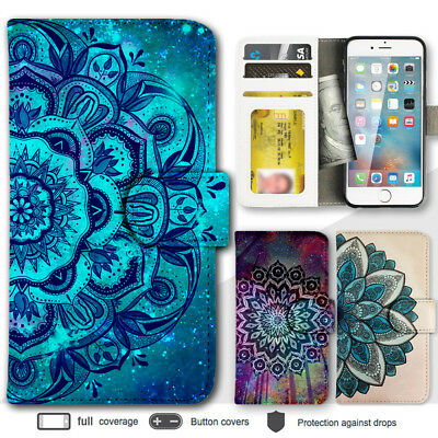 iPhone 7 7 Plus 6s 6 5 Case Mandala Pattern Print Wallet Leather Cover For Apple
