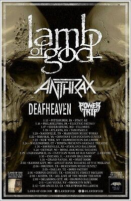 LAMB OF GOD | ANTHRAX | DEAFHEAVEN | POWER TRIP 2016 Tour Ltd Ed New RARE Poster