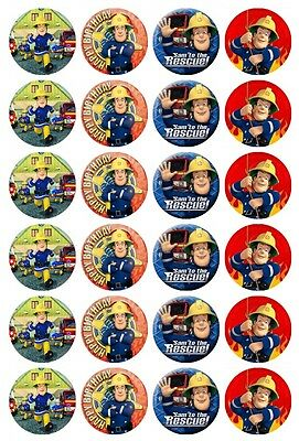 24 x Fireman Sam Edible Cupcake Toppers Pre-Cut