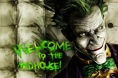 Welcome To The Mad House Asylum Joker WALL ART CANVAS FRAMED OR POSTER PRINT