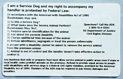Service Dog Id Badge Ada Esa Law Info Rights Card Hard Plastic + Holder Travel
