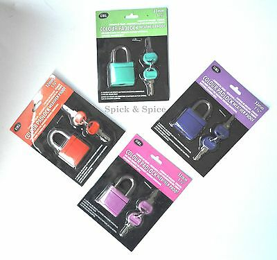 COLOURED Small Luggage  PADLOCK PAD LOCK 32mm ABS BODY 2 KEYS NEW Travel shed