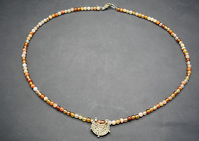 Islamic Medieval Period Stone Bead Necklace With Gold Openwork Pendant 15Th C