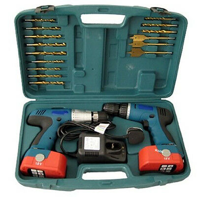 18V Cordless Drill Twin Hammer Drills Set Impact Driver Kit In Case Battery New