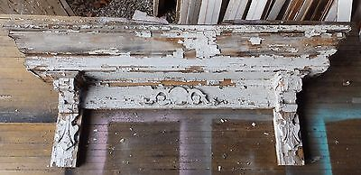 Antique Pediment Header Corbel Mantel Shelf Old Vtg Shabby Victorian Chic 58-16