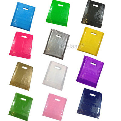 Plastic Carrier Bags Colored Gift Shop Strong Patch Handle Bag Boutique Retail